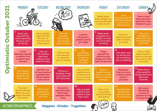 Action For Happiness Calendar - October 2021 - Optimistic October