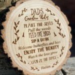 Personalised Engraved Garden Rules Log Slice